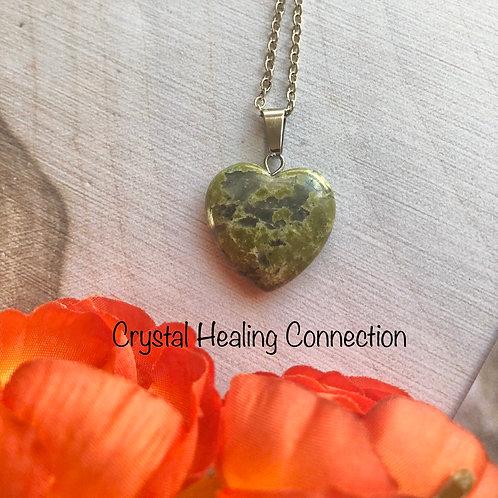 Green Unakite Simple Heart Necklace