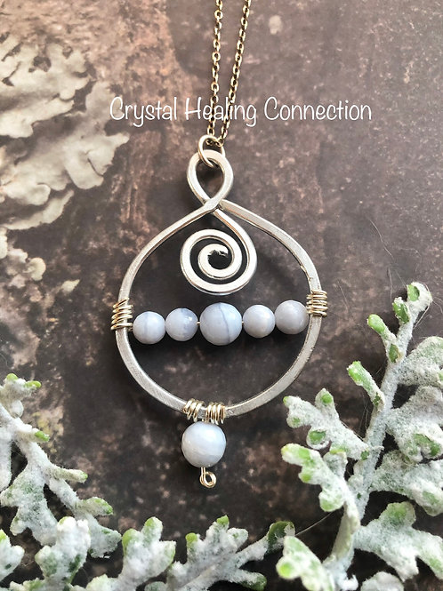 Blue Lace Agate Wire Wrapped Necklace