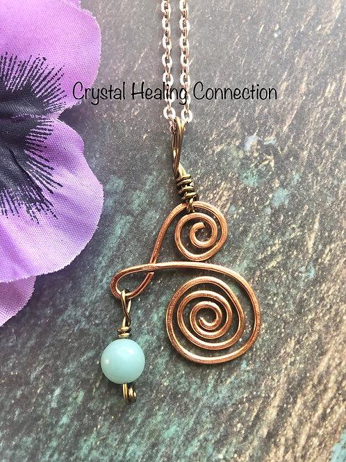 Wire Wrapped Amazonite  Copper Swirl Necklace