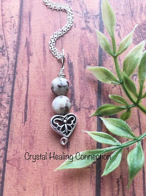 Feldspar Heart Necklace