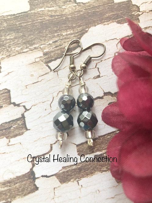 Faceted Hematite 2 Bead Earrings