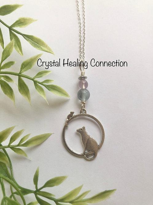 Fluorite Cat Necklace