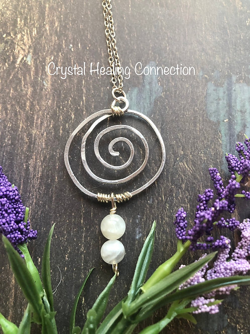 Wire Wrapped Moonstone Swirl Necklace