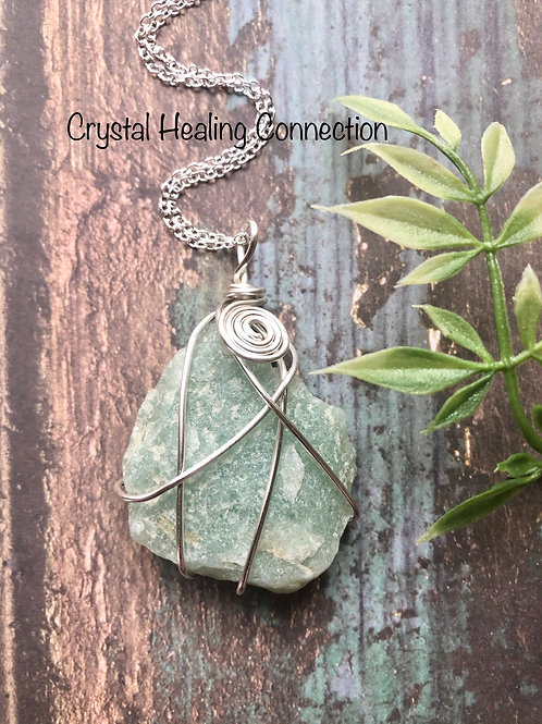 Wire Wrapped Natural Green Aventurine Necklace