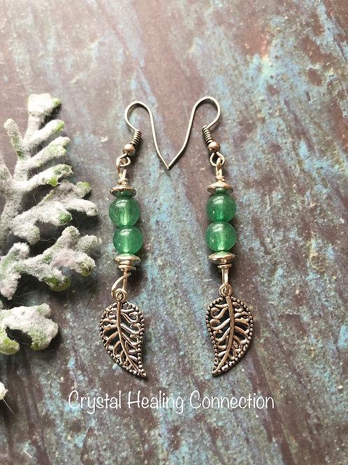 Green Aventurine 2 Bead Leaf Earrings