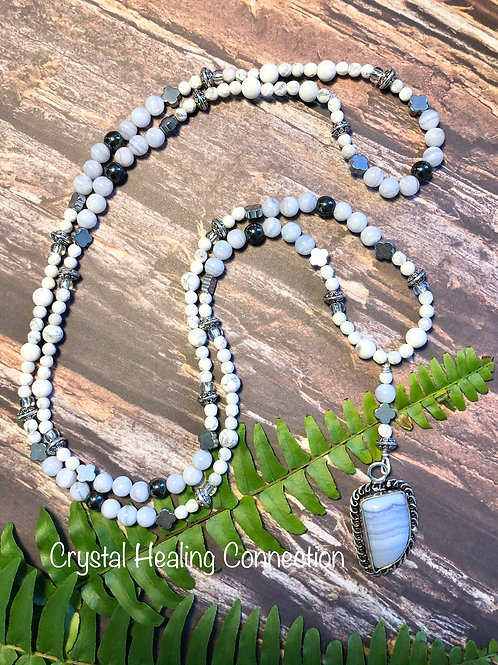 Blue Lace Agate, Howlite & Hematite Long Beaded Necklace