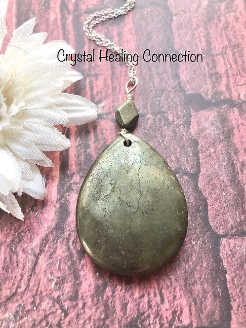 Large Pyrite Beaded Teardrop Necklace