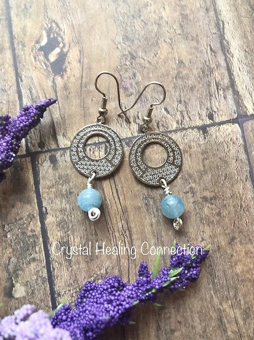 Aquamarine Filagree Circle Earrings