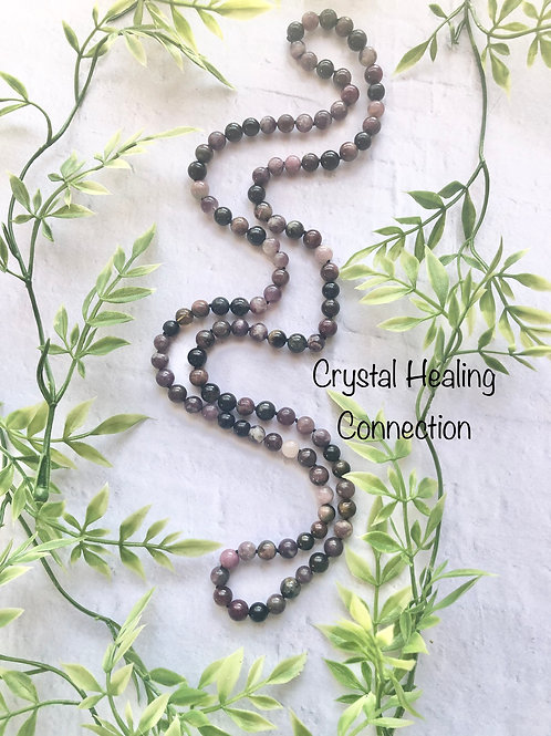 Long Beaded Mixed Tourmaline Necklace