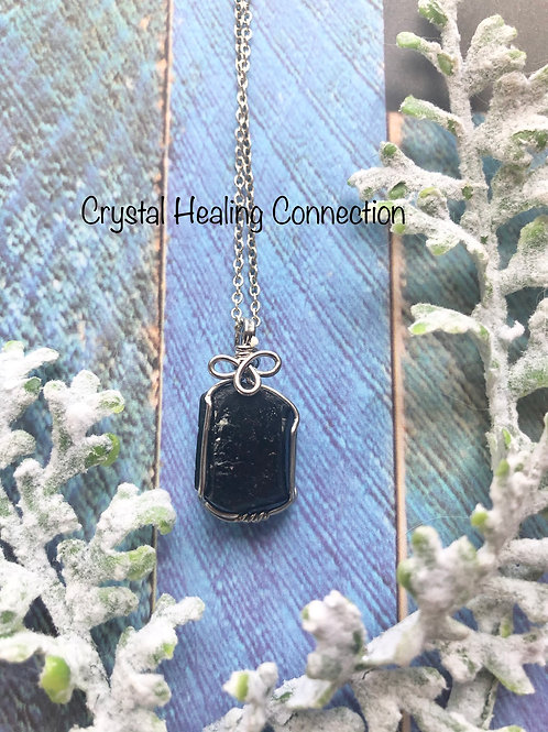 Rough Tourmaline Wire Wrapped Necklace
