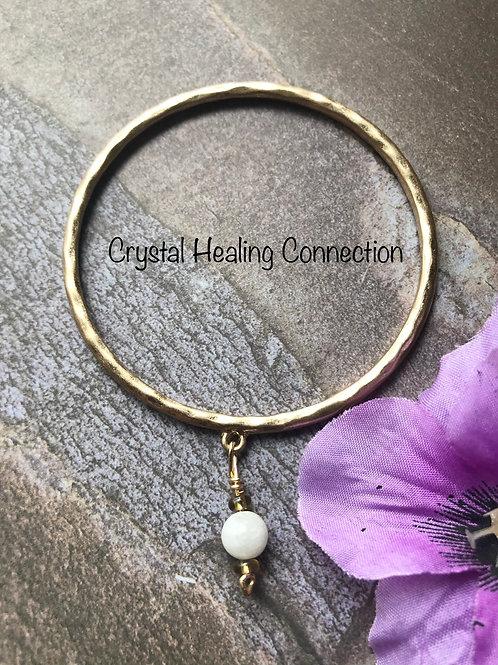 Moonstone Gold Bangle Bracelets