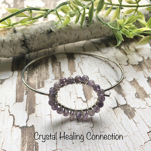 Amethyst Wire Wrapped Bracelet