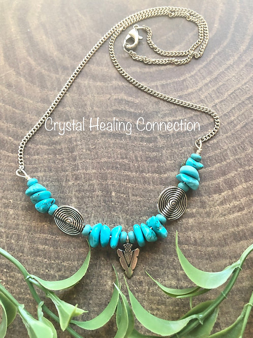 Blue Howlite Arrow Necklace