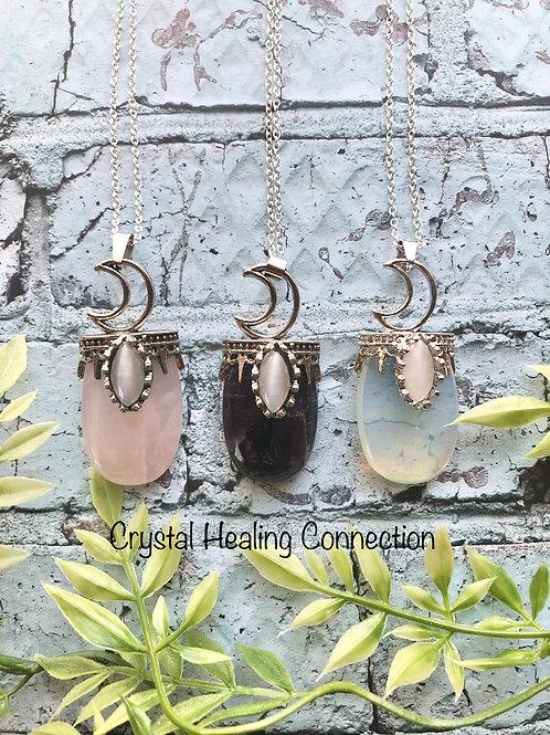 Gemstone Moon Necklaces