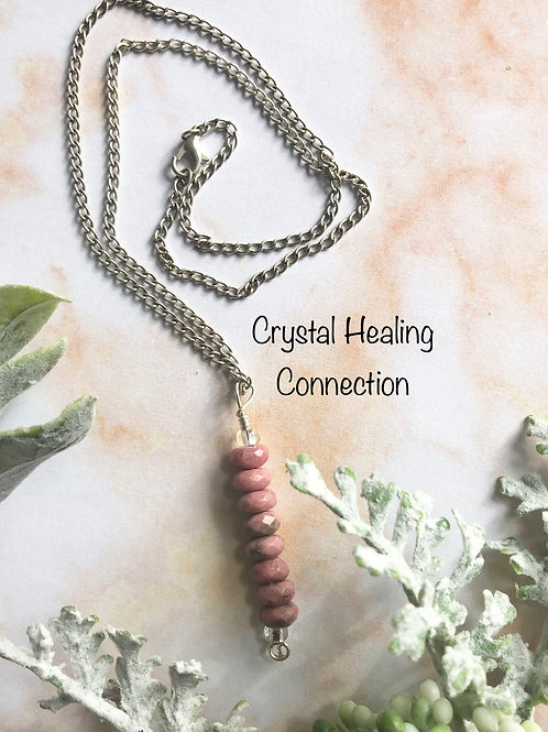 Rhodonite Faceted 8 Bead Necklace