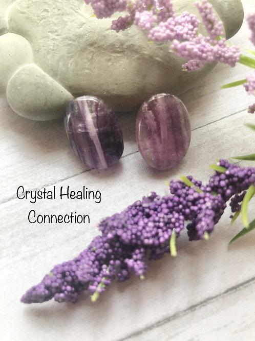Purple Fluorite Oval Stud Earrings
