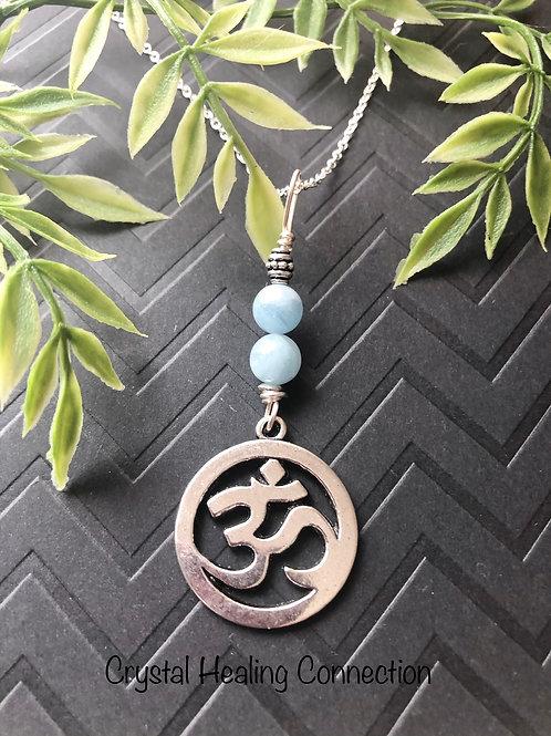 Aquamarine Om Necklace