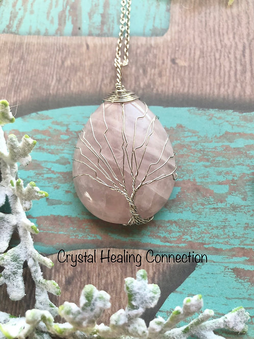 Rose Quartz Wire Wrapped Oval Tree of Life Necklace