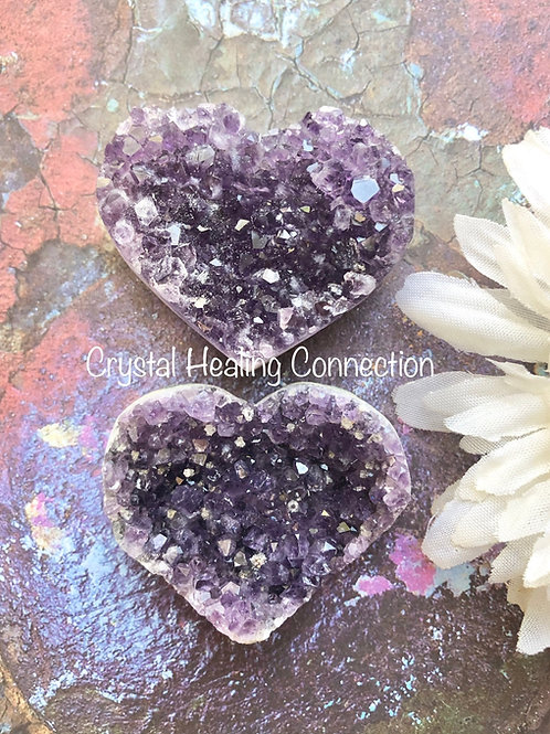 Amethyst  Mini Cluster Hearts