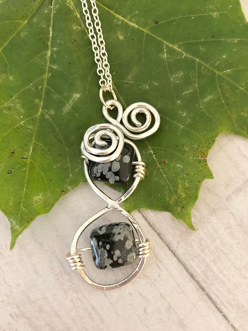 Snowflake Obsidian Wire Wrapped Necklace