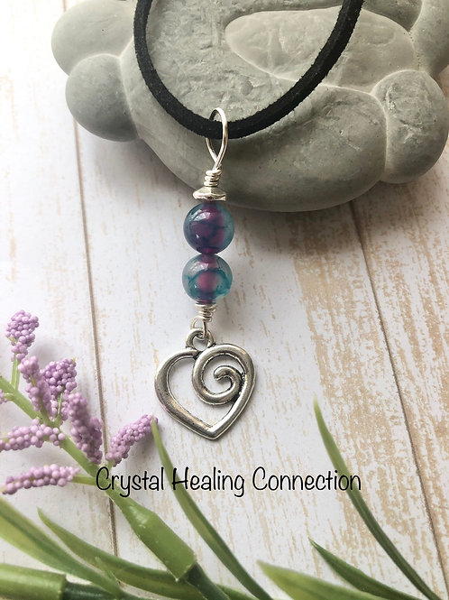 Mixed Agate Swirl Heart Necklace