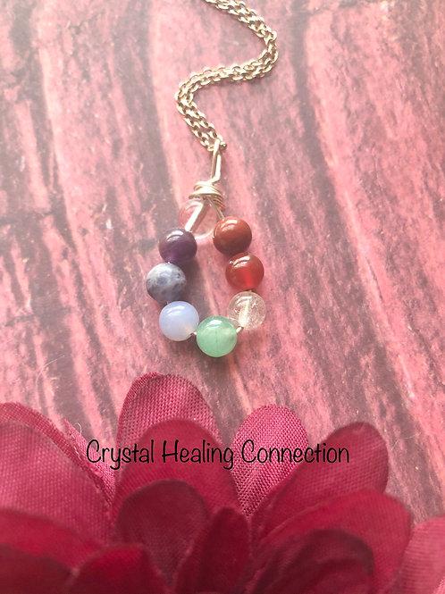 Chakra Tiny Wire Wrapped Teardrop Necklace