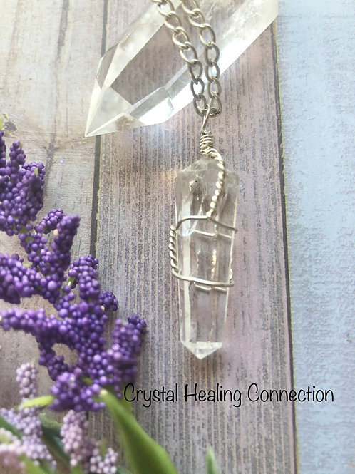 Clear Quartz Wire Wrapped Point Necklace