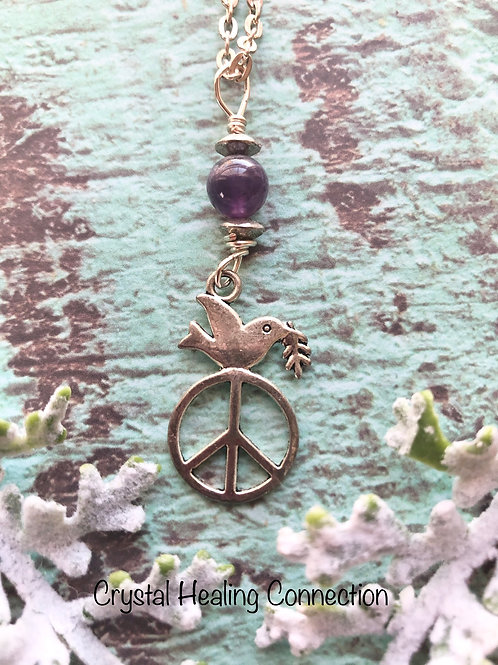 Amethyst Peace Sign Dove Necklace