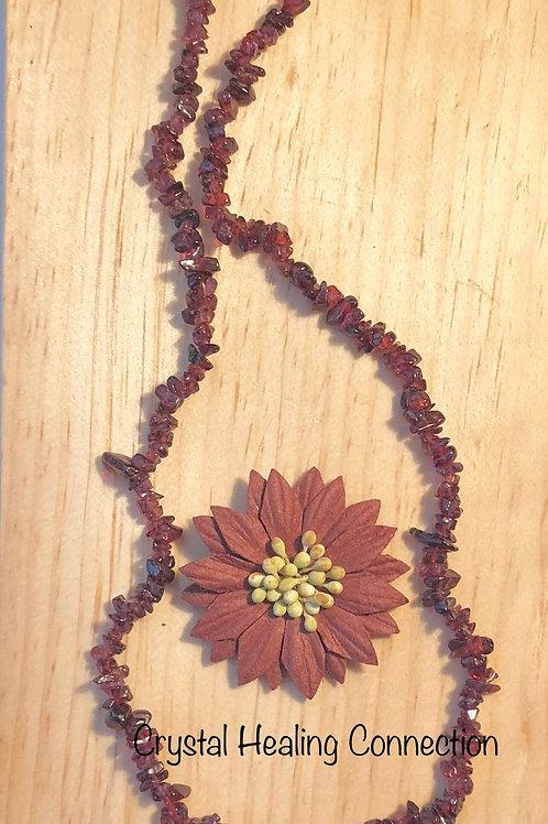 Garnet Crystal Chip Necklace