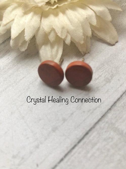 Red Jasper Round Stud Earrings