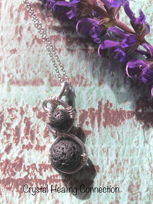 Lava Stone Crystal Diffuser Necklace