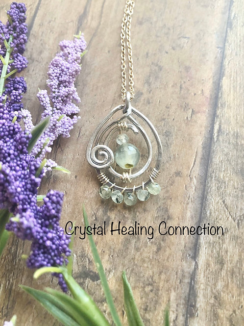 Prehnite w/ Epidote Wire Wrapped Swirl Necklace