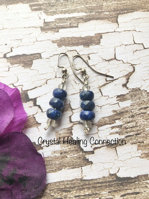 Lapis Lazuli 3 Bead Earrings