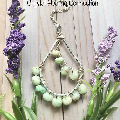 Light Chrysoprase Faceted Wire Wrapped Necklace