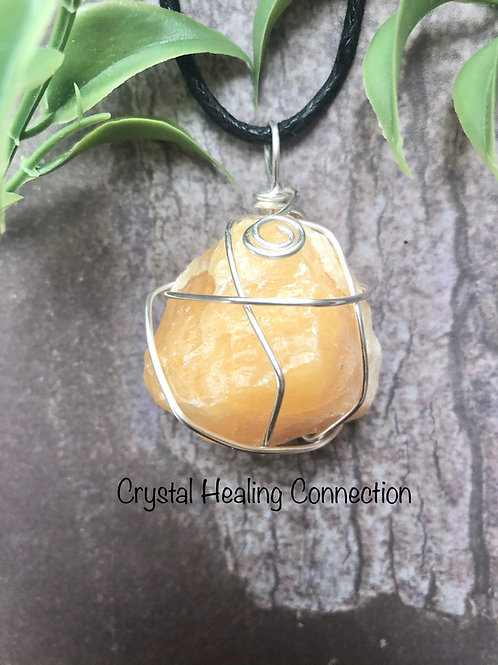 Wire Wrapped Orange Calcite Necklace