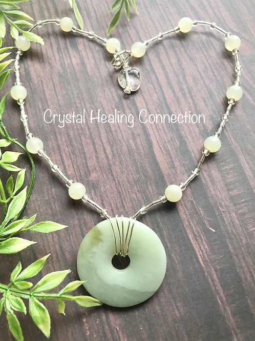 New Jade Wire Wrapped Beaded Pi Stone Necklace