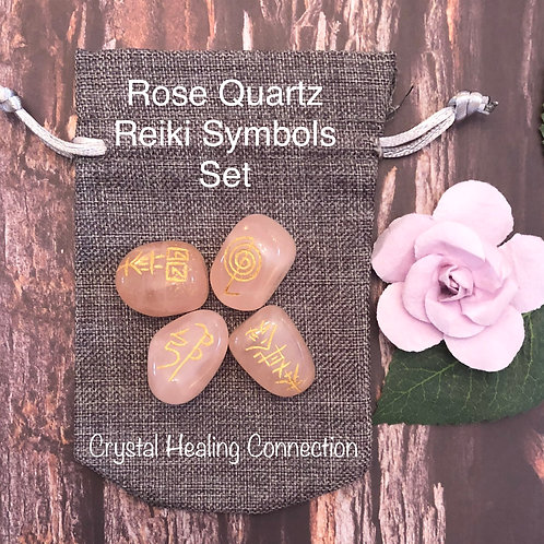 Rose Quartz Reiki Symbols Crystal Set