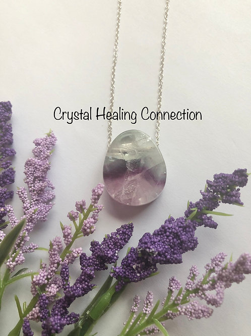 Fluorite Drilled Teardrop necklace