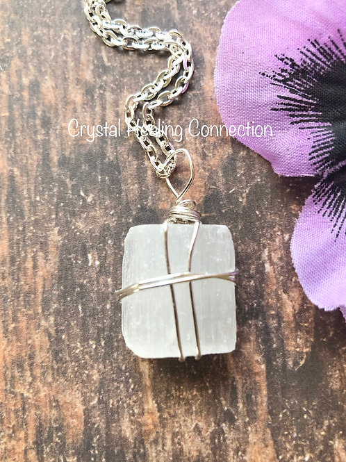 Wire Wrapped Natural Selenite Necklace