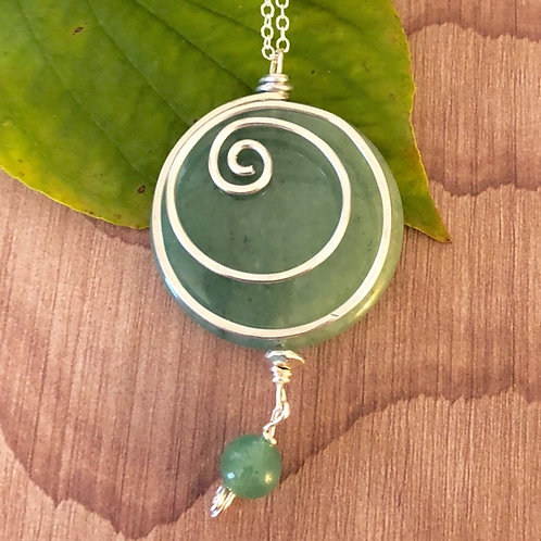 Green Aventurine Swirl Necklace