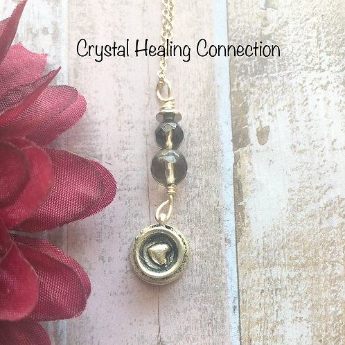 Smokey quartz Tiny Tea Cup Necklace