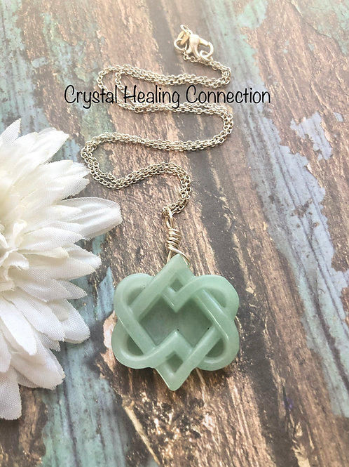 Green Aventurine Hearts Intertwined Necklace