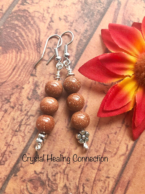 Goldstone 3 Bead Flower Earrings