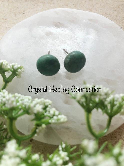 Chrysocolla Round Stud Earrings