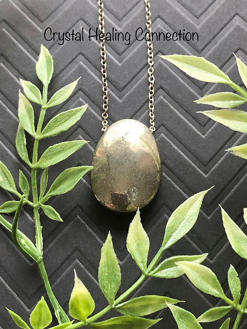 Pyrite Drilled Oval Necklace