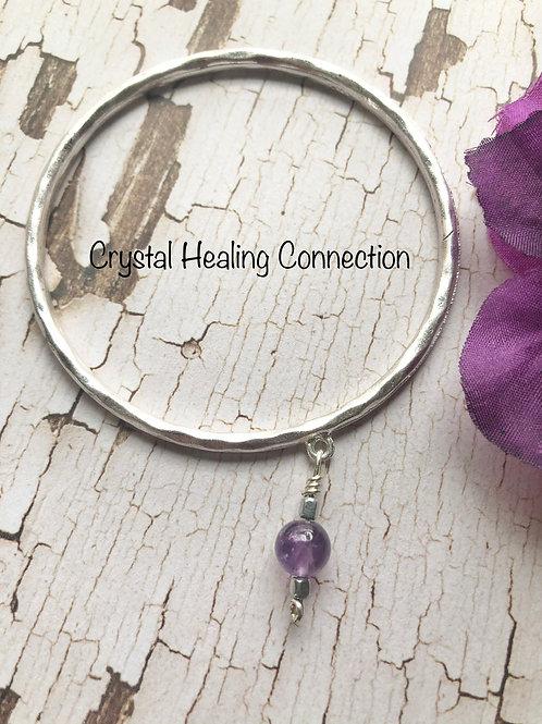 Amethyst Silver Bangle Bracelet