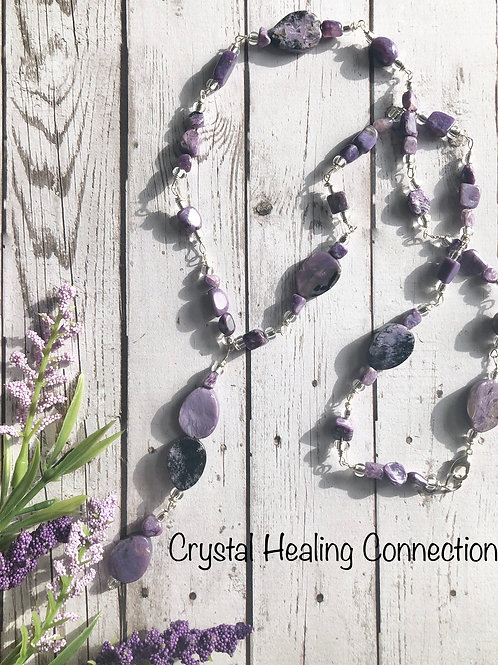 Charoite Long Beaded Necklace