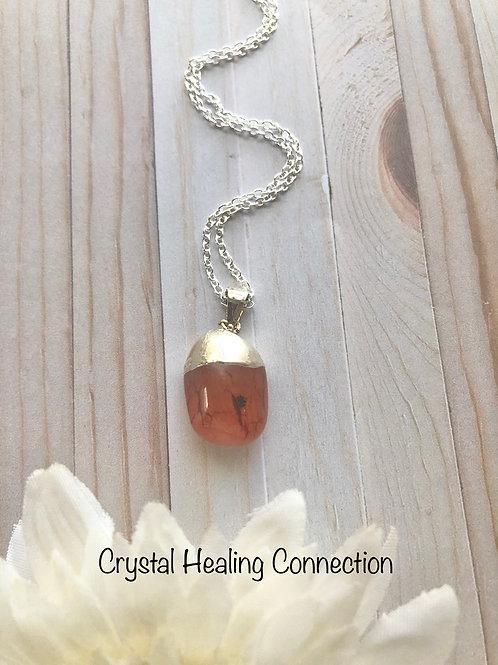 Mini Carnelian Tumble Stone Necklace