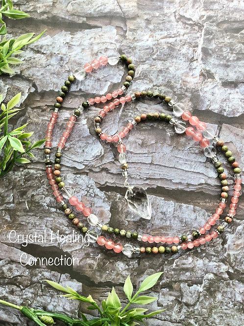 Unakite, Cherry Quartz and Clear Quartz Pendulum Necklace