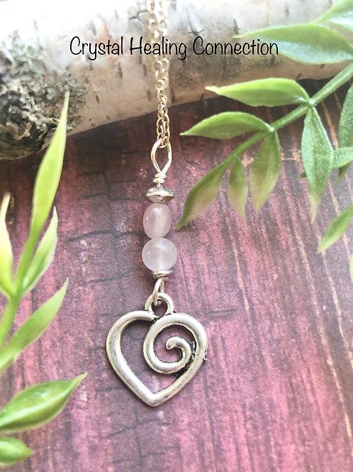 Rose Quartz Swirl Heart Necklace